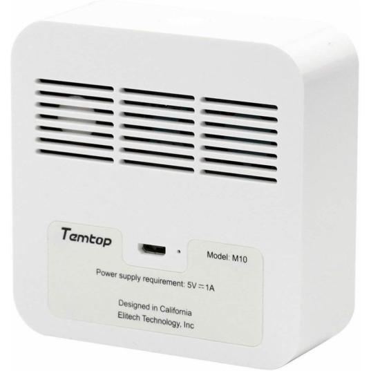 Detector de qualidade de ar (HCHO / PM2,5 / TVOC / AQI) Mod. M10 Elitech Brasil Traseira
