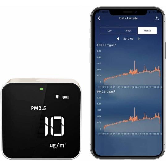 Detector de qualidade de ar Wifi (HCHO / PM2,5 / TVOC / AQI) Mod. M10i wifi Elitech Brasil Wifi