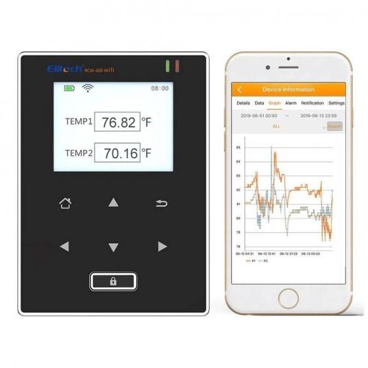 Datalogger de temperatura (2 sensores de temperatura) -40 A 80°C. Sem fio, conexão Wifi 20.000 leituras Mod. RCW-600wifi Elitech Brasil com Tablet