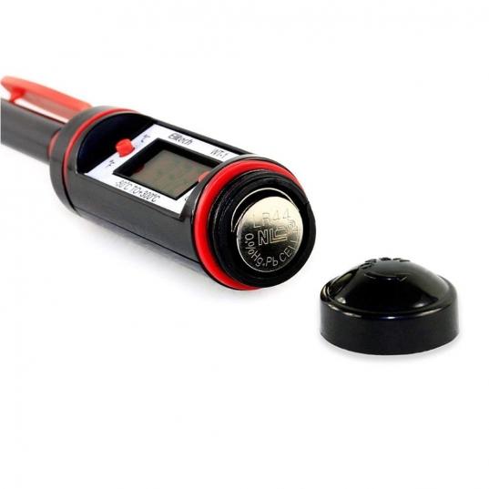 Termômetro digital portátil tipo espeto  de aço inox a prova d´agua, tela LCD (-50 a 300°C) Mod. WT-1B Elitech Brasil Pilhas
