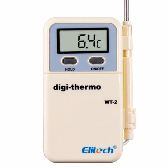 Termômetro digital com sonda de metal alongada tipo espeto e fio condutor. Memória de máxima e mínima de temperatura -50 a +300°C Mod. WT-2 Elitech Brasil